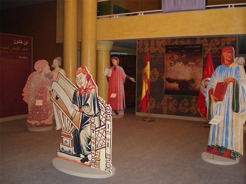Detalles del montaje de la Exposición en la Biblioteca Nacional de Túnez.