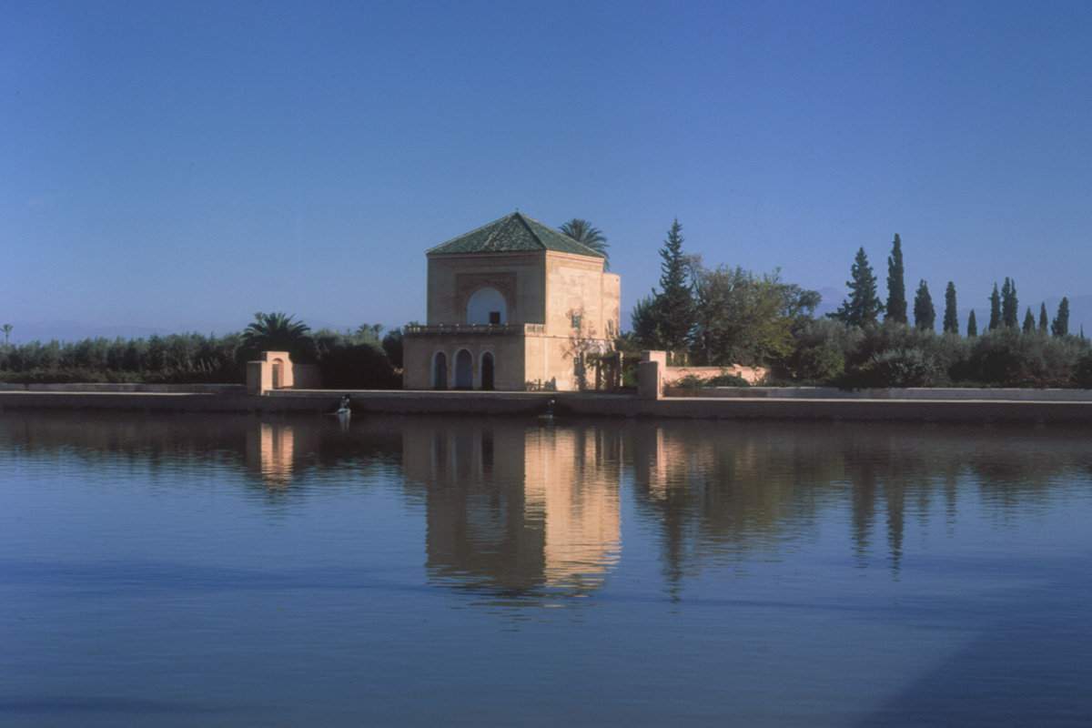 Exterior view of the Pavilion of the Menara of Marrakech, venues of the exhibition.