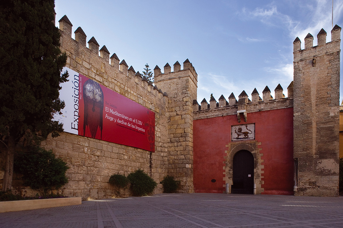 Entrance to the Exhibition Ibn Khaldun. The Mediterranean in the 14th century: Rise and Fall of the Empires, Real Alcázar of Seville.