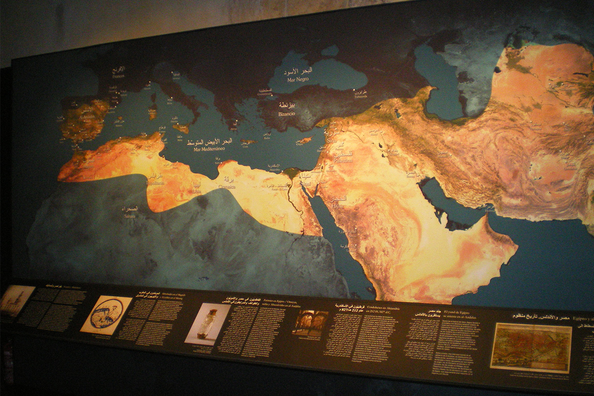 Map showingthe dominions of the Arab-Muslim civilization at its apogee.