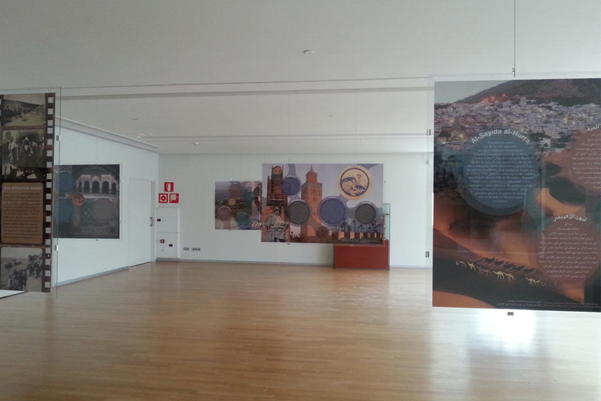 Vista espacio expositivo en la Sala Ibn al-Jatib del Pabellón de al-Andalus y la Ciencia. Granada.