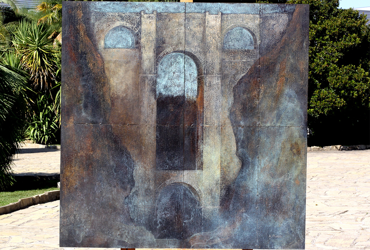 """A view of the work """"Vertiginous discovery"""". Ronda. Mixed Media on beaten and chiselled plate. 100 x 100 cm"""