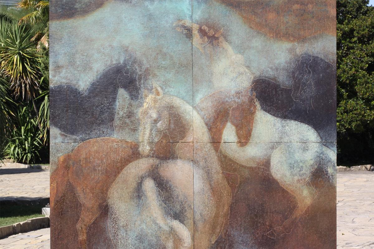 A detail of the work Equus. Jerez de la Frontera