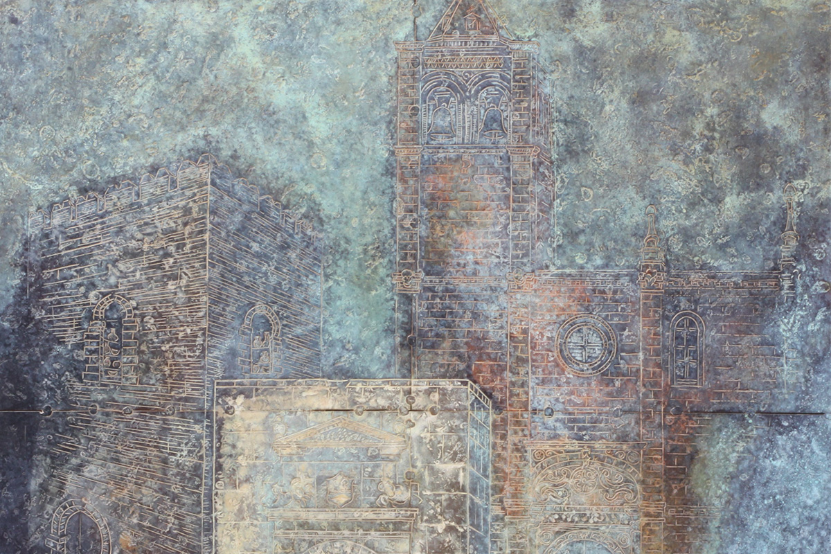 """A detail of the work """"Gates to history"""". Alcalá la Real. Mixed technique on beaten and chiselled sheet. 65 x 65 cm."""