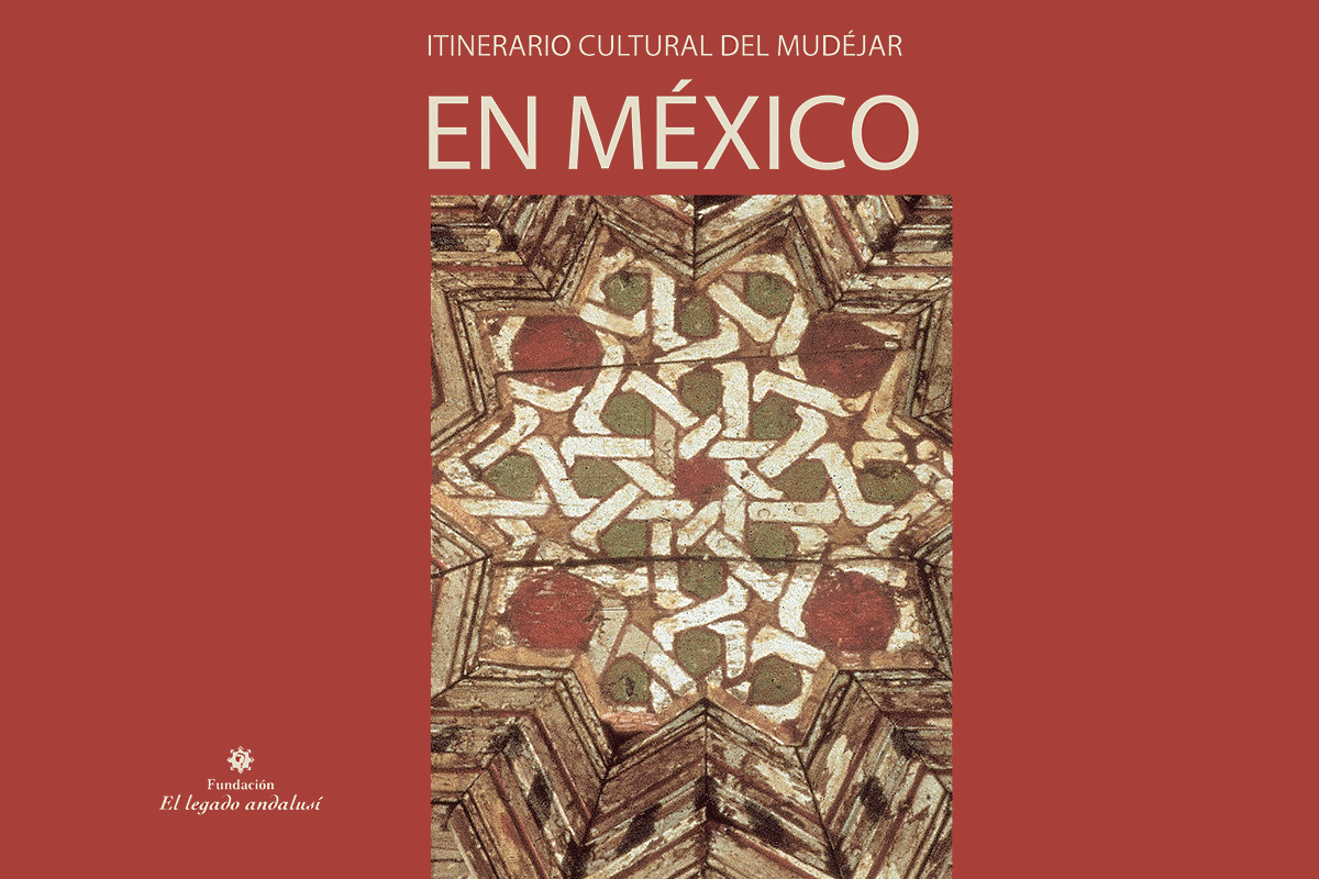 "Partial view of the cover of the catalogue of the exhibition ""Cultural Itinerary of the Mudejar in Mexico. Synthesis of Cultures."""