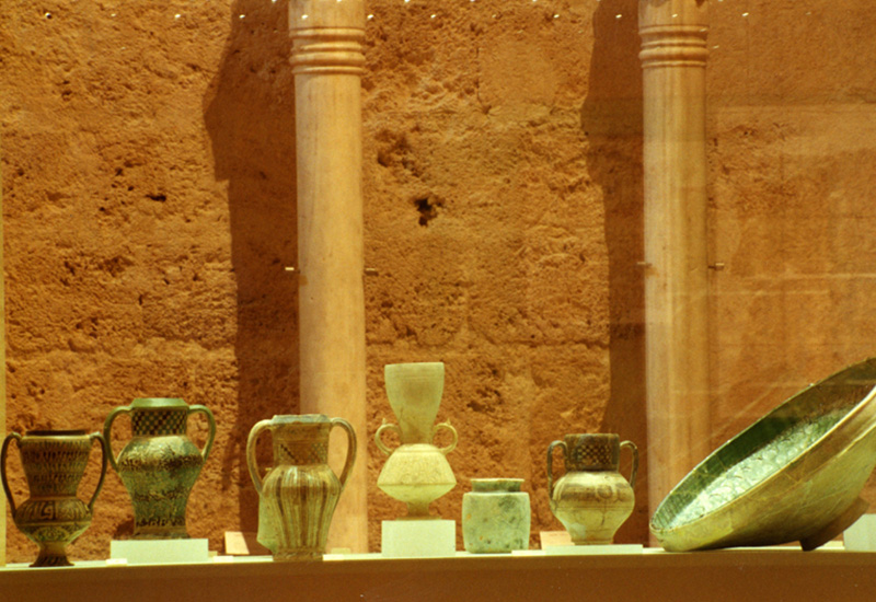 "Among the objects on display there were Almohad jugs (12-13th c.) decorated with ""cuerda seca"" (dry cord) technique. Right, a large bowl (14-15th c.) belonging to a dinner service for presenting food."