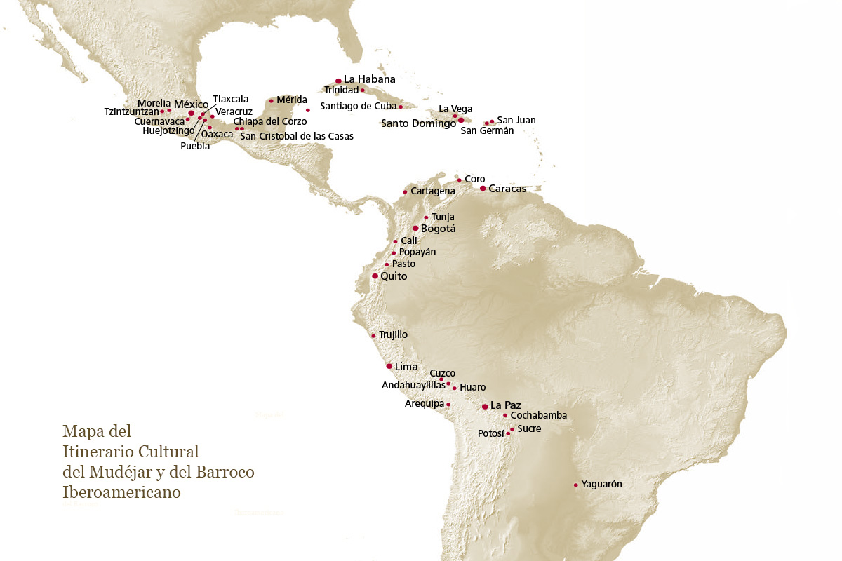 Map of the cultural Itinerary of the Ibero-American Mudéjar and Baroque.