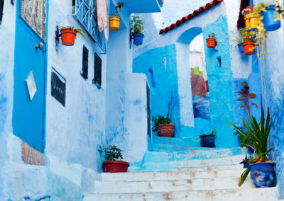 Typical street of Chefchaouen. Morocco.