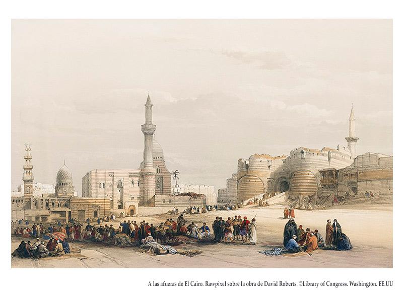 A las afueras de El Cairo. Grabado de David Robert. By Rawpixel. ©Library of Congress. Washington. EE.UU.