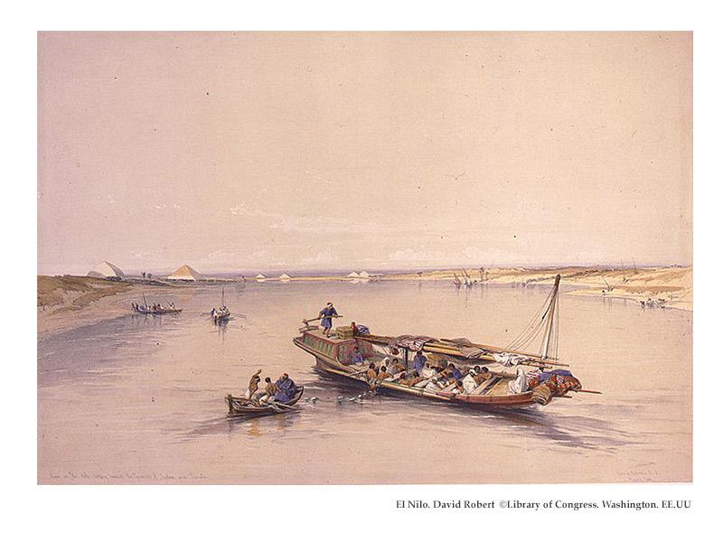 El Nilo. Grabado de David Robert ©Library of Congress. Washington. EE.UU