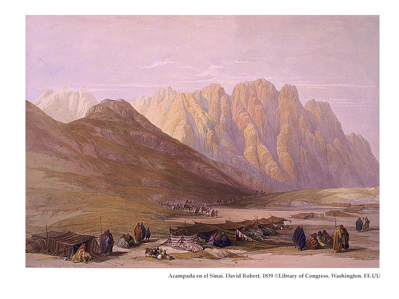 Acampada en el Sinaí. Grabado de David Robert ©Library of Congress. Washington. EE.UU.