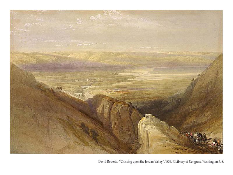 "David Roberts. 1839. ""Crossing upon the Jordan Valley"". ©Library of Congress. Washington. US."