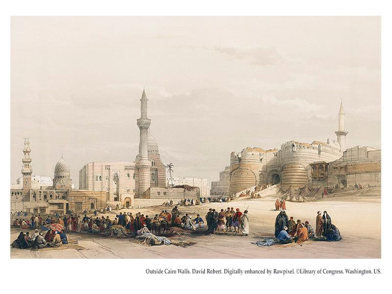 04-Outside Cairo Walls. David Robert. Digitally enhanced by Rawpixel. ©Library of Congress. Washington. US.