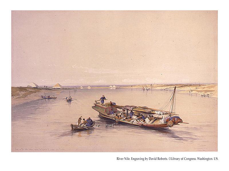 River Nile. Engraving by David Roberts. ©Library of Congress. Washington. US.