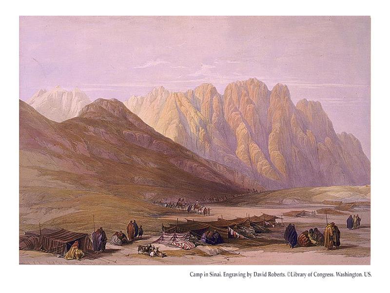 Camp in Sinai. Engraving by David Roberts. ©Library of Congress. Washington. US.